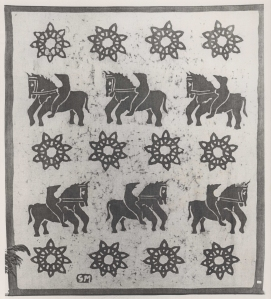 Batik design by Gunnie Moberg of man on horseback and sun design repeated