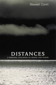 The cover of Stewart Conn's book called Distances. It show the image of Gunnie's with dark brooding sky and solo hanging cloud above a shimmering sea.