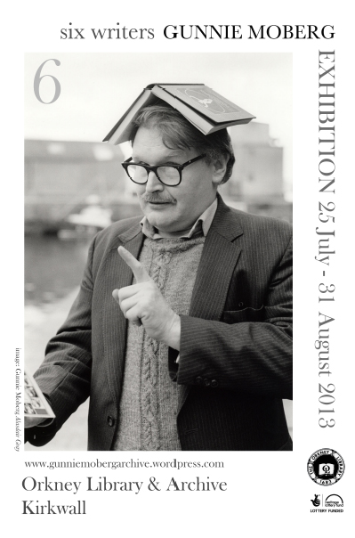 poster for the exhibition showing image of Alasdair Gray wearing a book on his head and pointing while reading