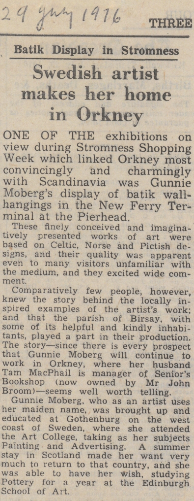 newspaper article clipping 'Swedish artist makes her home in Orkney'
