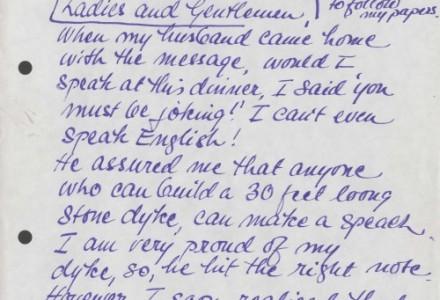 Handwritten notes by Gunnie Moberg from speech