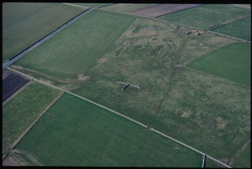 The T-shaped sheep shelter is shown in the context of the fields around it and a tarmac road to the left.