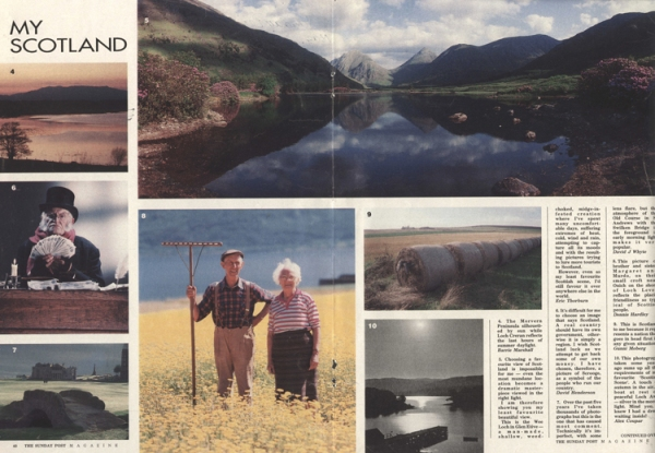 A photo page spread shwoing views of Scotland and portraits.