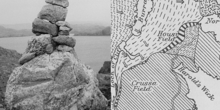 Detail of Gunnie Moberg photograph of a sea marker pile of stones next to detail of a geological map of Unst, Shetland