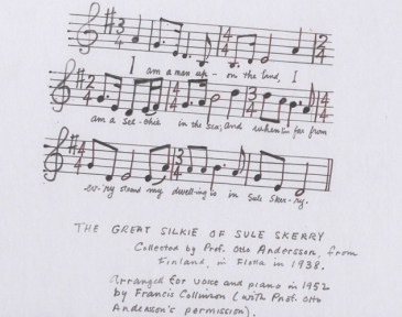 hand-written music score for a song about selkies