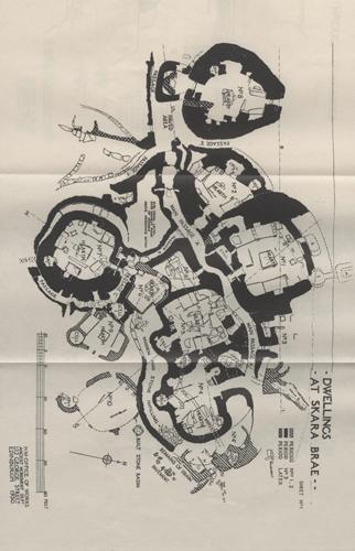 Sketch map of Skara Brae dwellings