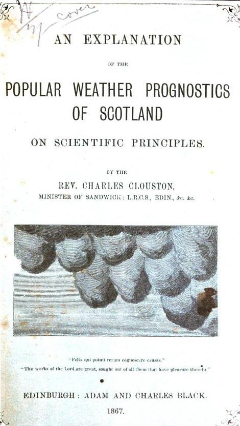 cover of a pamphlet by Rev Clouston showing an etching of low hanging mamatus clouds