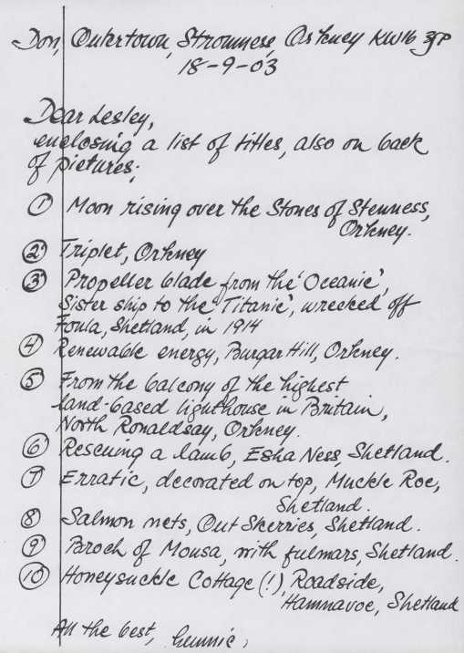 Hand written list of artworks, bold black script.