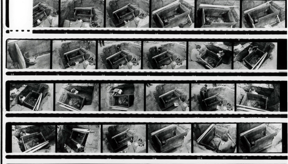 A contact sheet of strips of negatives of an archaeological site.