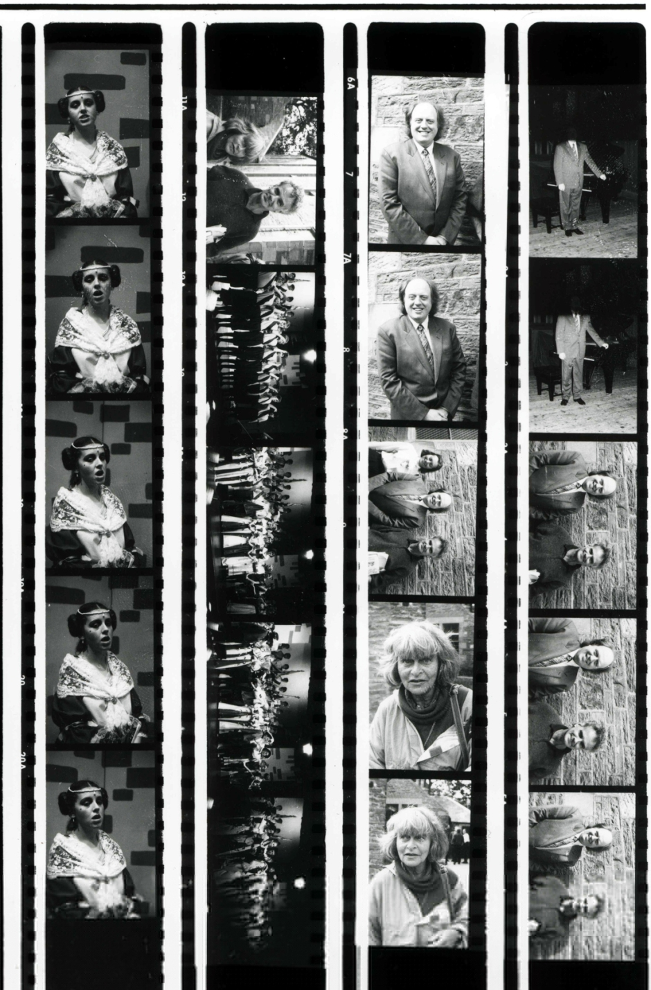 A contact sheet of strips of negatives of performers.