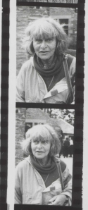 Detail from a contact sheet showing two black and white negatives of portraits of a woman.
