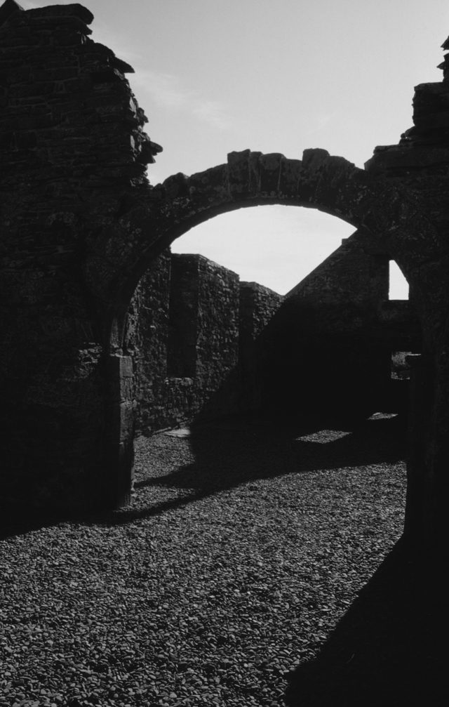 In this black and white image the shapes are solid black shadows creating the space between and under things, broken walls and arches.