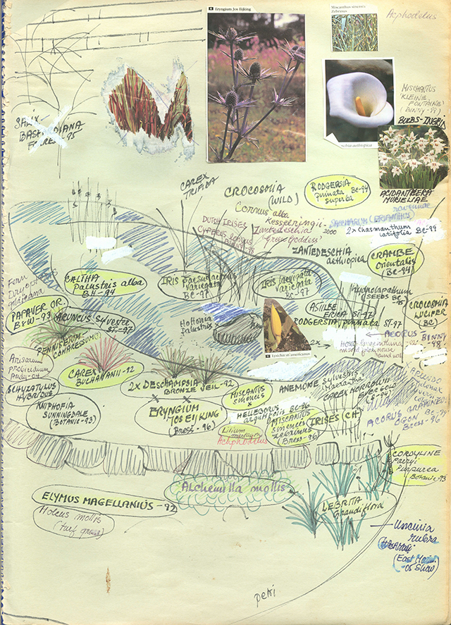 Sketchbook showing garden plantings, handwritten with drawings and corrections and highlighting and images cut from seed catalogues.