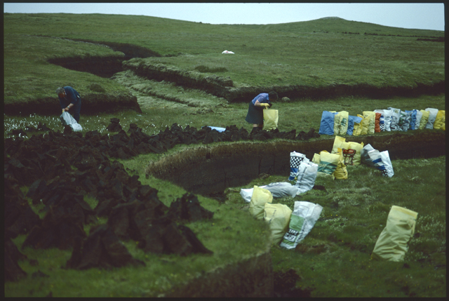 People gather on the hill to cut peat, bright couloured agricultural feed bags line the bank ready to be filled against the deep colour of the peat.
