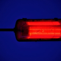 A street light glows red against the deepest of midnight blue.