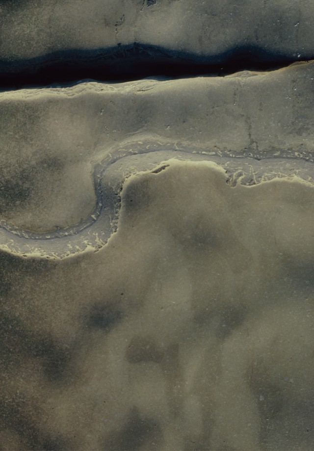 In a beach stone we can read a landscape, a river perhaps snaking across the top, sands maybe bearing ripple marks, and a coastline curving and curling.