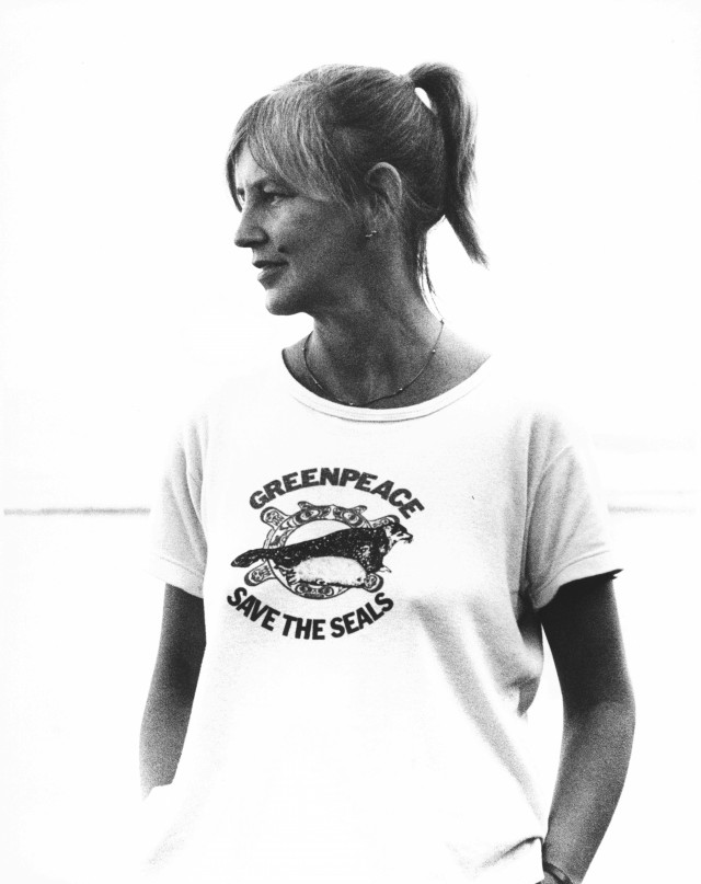 Portrait of Gunnie in t-shirt with slogan 'Greenpeac Save the seals'