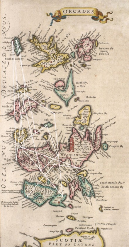 Blaeu map with Stone Built places overlaid
